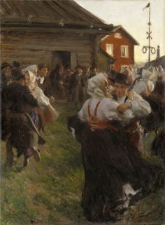 Midsummer dance (1903).Anders Zorn (Swedish, Impressionism, 1860-1920). Oilon canvas.Nationalmuseum, Stockholm.  Zorn painted in June and part of July. He had just given Morkarlby a new maypole. The pole was painted red every Midsummer and Zorn wanted to be present and participate and then paint the dancing that went on at the maypole and in a side yard until morning.