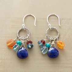 """COLOR COLLECTIVE EARRINGS--These coiled sterling silver hoop and gemstone earrings corral a colorful collection—lapis, carnelian, apatite, turquoise, garnet and blue quartz. Sterling silver wires. Exclusive. 1-3/8""""L."""