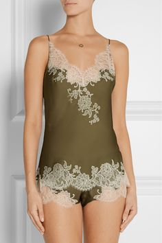 Carine Gilson Sonia lace-trimmed silk-satin camisole NET-A-PORTER.COM