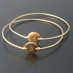 Personalized Custom Initial Bangle Bracelet Gold by FrostedWillow