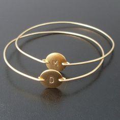 Personalized custom initial bangle bracelet.