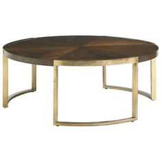 Stanley Furniture Crestaire Mid-Century Modern Autry Round Cocktail Table with Walnut Veneer & Gold Leaf Base