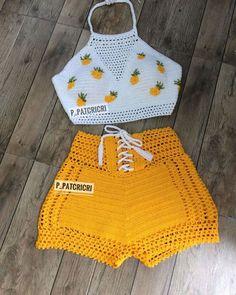 Wunderschönes Set - The world's most private search engine Bikini Crochet, Crochet Crop Top, Crochet Baby, Knit Crochet, Crochet Fashion, Diy Fashion, Sewing Clothes, Crochet Clothes, Crochet Bathing Suits