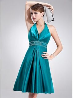 Special Occasion Dresses - $114.99 - A-Line/Princess Halter Knee-Length Charmeuse Holiday Dress With Beading  http://www.dressfirst.com/A-Line-Princess-Halter-Knee-Length-Charmeuse-Holiday-Dress-With-Beading-020020920-g20920