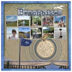 """Beach bikes - an adaptation of P2P challenge -""""Photo series"""".  page by Sharon Albright designs.  challenge by www.pixels2pages.net"""
