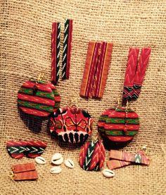 Boucles d'oreilles en formes géométriques, fait à la main avec le tissu africain Wax.