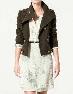 Cloth Military Jacket with White semi-tie died dress from Zara.