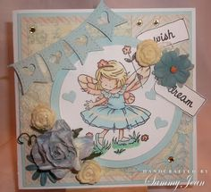 girlie card with lili of the valley stamp and Prima papers