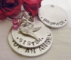 Sister or brother hand stamped memorial key by glamgirlspretties, $18.00