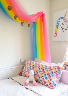 Save money yet still create a perfectly custom bedroom with this easy, timeless and effective budget-friendly bedding trick! Big Girl Bedrooms, Little Girl Rooms, Girls Bedroom, Bedroom Ideas, Rainbow Room Kids, Rainbow Bedroom, Rainbow Bedding, Unicorn Bedroom, Bunt