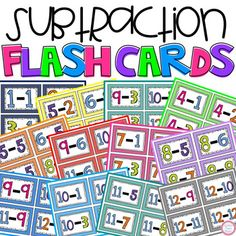 These subtraction flash cards (1-12) work great for math centers, students who finish early, or for students to take home and practice for homework.I like to print them on card stock, cut them, and laminate!Answers are not included on the back.If interested, I have also created:Multiplication Flash ...