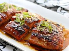Miso Soy Glazed Salmon - Easy salmon dish with Asian-inspired flavors! Salmon is topped with a sticky, savory and sweet miso soy glaze with an umami flavor. Serve with rice and veggies. Delicious Salmon Recipes, Baked Salmon Recipes, Fish Recipes, Seafood Recipes, Quick Recipes, New Recipes, Healthy Recipes, Favorite Recipes, Salmon Dishes