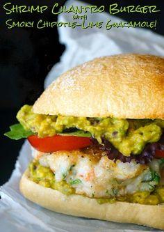 Cilantro Shrimp Burgers are a super unique twist on a burger. The shrimp burger patties are topped with a delicious smoky guacamole! Chipotle Recipes, Burger Recipes, Shrimp Recipes, Mexican Food Recipes, Vegetarian Recipes, Dinner Recipes, Cooking Recipes, Healthy Recipes, Dinner Ideas