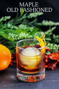 This Maple Old Fashioned is a fantastic fall and winter cocktail with the great flavors of maple syrup. Super simple to make with maple syrup, bitters and whiskey. A tasty cocktail! #cocktails #maple #bitters