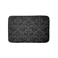 Vintage Black & Gray Damask Bathroom Mat