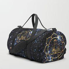 Gold funky Space Buddha Duffle Bag by azima Xmas, Christmas, Consciousness, Namaste, Reiki, Pop Art, Buddha, Zen, Meditation