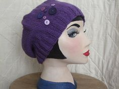 Boho fashion :Hand knitted slouch beanie with vintage buttons detail. Stylish enough for town or country, durable and practical. An ideal winter accessory. Makes an excellent Xmas gift. One of a kind design, hand made in Wales. £12.00,available from www.liliwenfachknits.co.uk