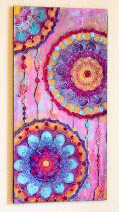 Dream Catcher Original Mixed Media Acrylic Painting Bohemian, Gypsy, Boho Art On Wood Panel 12 x 24 Wall Art - pinned by pin4etsy.com
