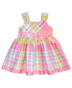 Bonnie Baby's sundress features metallic thread detailing to give it some extra shimmer and a dotted grosgrain ribbon that adds flair to the waistline. Newborn Girl Outfits, Kids Outfits Girls, Toddler Girl Outfits, Baby Girl Dresses, Baby Dress, Baby Girls, Dress Girl, Kids Fashion Boy, Girl Fashion