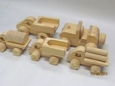 Items similar to Truck Set With 5 Trucks All New fat tire set All Natural on Etsy Making Wooden Toys, Handmade Wooden Toys, Wooden Crafts, Wooden Toy Trucks, Wooden Car, Dremel Tool Projects, Wood Projects, Toy Shelves, Toy Bins