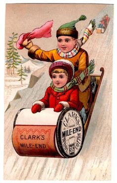 Clark's Mile End Spool Cotton Advertising Card Trimmed- Sewing, Sled, Children #Clarks