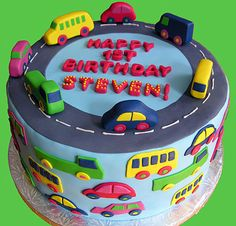Car cake. Love this....would have been perfect for my oldest, when little. His bedroom was decorated like this !