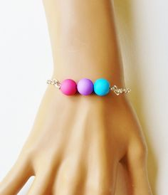 Bisexual Pride Bracelet - lgbt jewelry, bi pride jewelry, equality jewelry, pride bracelet, lgbt pride bracelet, beaded bracelet by FeathersandStars on Etsy