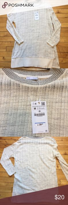 NWT Zara Oversized Sweater NWT. Cream with grey. Thinner material. No trades please but please feel free to make an offer! Zara Sweaters