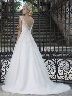 Illusion Neckline Lace & Tulle Wedding gown by Sincerity wedding dresses style 3909