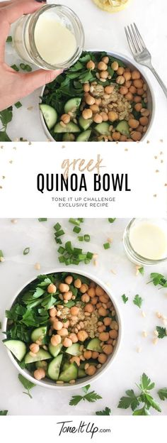 Exclusive Greek Quinoa Bowl recipe from the BRAND NEW 6 Week Meal Plan on ToneItUp.com!