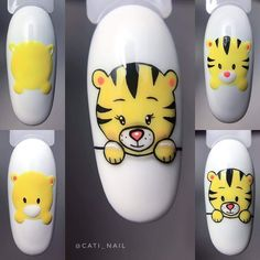 Cartoon Nail Designs, Animal Nail Designs, Animal Nail Art, Nail Art Designs Videos, Nail Art Blog, Gel Nail Art, Nail Swag, Hello Nails, Nail Drawing