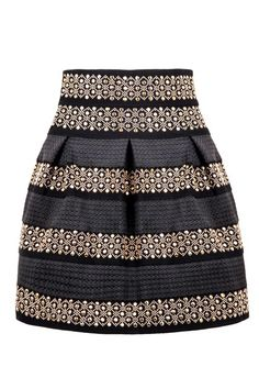 Black High Waist Rivet #Striped #Skirt