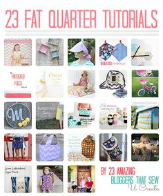 23 Fat Quarter Tutorials by 23 Amazing Bloggers that Sew from u-createcrafts.com #tutorials #fabric #crafts