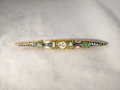 Italian Micro Mosaic Bar Pin, Victorian, with C Clasp by MySimpleDistractions on Etsy