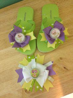 Green La La Loopsy Bow-Flip Flops-15.00