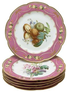 SIX SEVRES STYLE PORCELAIN PINK-GROUND DESSERT PLATES