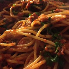 This is sort of a variation on pasta puttanesca, which has anchovies and is usually cooked very quickly. Here, I use sardines and I cook the sauce longer, so it is thick and sweet. I also use lemon zest and juice, which brightens up this very lusty sauce. Sardine Pasta Recipe, Sardine Recipes, Fish Recipes, Pasta Recipes, Cooking Recipes, Easy Delicious Recipes, Healthy Recipes, Healthy Food