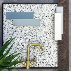 """Delforno Tiles & Timber on Instagram: """"Terrazzo effect porcelain where every marble chip has been considered . Zanzibar mixer tap . Brick subway in solid colours . Textured wood…"""" Mixer Taps, Terrazzo, Brick, Tiles, Marble, Porcelain, Colours, Texture, Wood"""