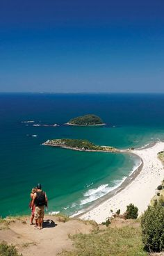The View from Mauao the dormant volcano at the tip of Mount Maunganui's Sandy Peninsula, Overlooking the Bay of Plenty, New Zealand