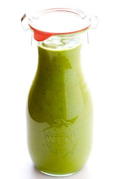 LOVE this Avocado Cilantro Dressing! It's basically everything I love about guacamole -- like fresh avocado, cilantro, jalapeno, lime juice and more -- blended up into an easy vinaigrette. Perfect for salads and more!   gimmesomeoven.com (Vegetarian / Gluten-Free / Vegan)