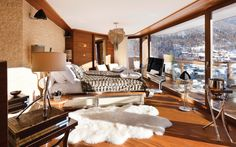 Imagine waking up to this! - Views of the Matterhorn. Pure luxury at Chalet Zermatt Peak, Switzerland.
