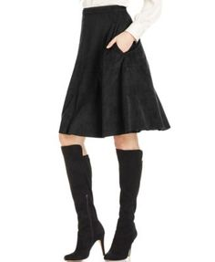 Vince Camuto Faux-Suede A-Line Skirt