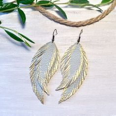 Spa and gold color. Bundle and get discount. Leather Leaf, Vegan Leather, Feather Earrings, Leaf Earrings, Vintage Earrings, Pendant, Bracelets, Gold, Gifts