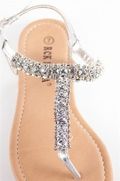 REAL Swarovski Crystals On Silver Flip Flops