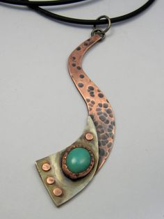Mixed Metal Turquoise Riveted and Graduated by AmorphicMetals, $55.00
