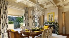 Dining room- the curtains and decor add the perfect touch #ElegantDining #DiningRooms #YellowAccents #NapaHomes #LatifeHayson