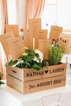 Asignar los asientos en una boda o celebración de forma creativa_flores en caja