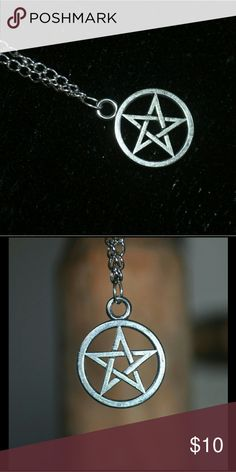 Silver Pentagram Charm Necklace occult gothic goth small silver charm - comes on chain Jewelry Necklaces