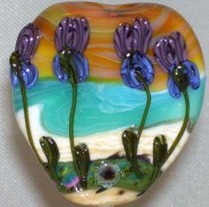 WSTGA~SEASIDE IRISES~FLORAL OCEAN BEACH handmade lampwork focal glass bead SRA By Molly Cooley