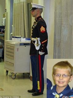 Cody Green, 12, was diagnosed with leukemia. He loved the USMC. He drew strength/courage from them. When he got an infection that attacked his brain, the Marines wanted to show him how much they respected his will to live/strength/honor/courage. They gave him Marine Navigator Wings and named him an honorary member of the USMC. For one Marine, that wasn't enough. That night, before Cody passed away, he took it upon himself to stand guard at Cody's hospital door all night long, 8 hours…